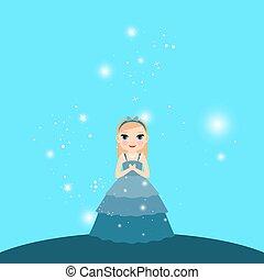 beau, lumières, dessin animé, princesse