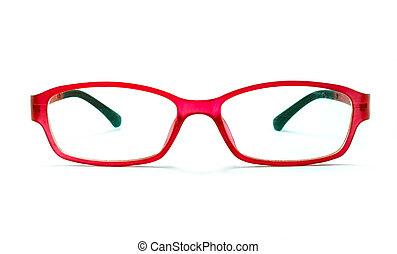 beau, lunettes, isolé