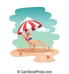 beau, lunettes soleil, délassant, girl, chaise plage