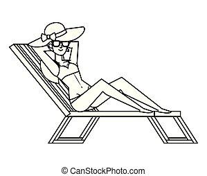 beau, lunettes soleil, délassant, swimsut, girl, chaise plage