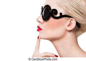 beau, lunettes soleil, girl, lèvres, fond, blond, blanc rouge
