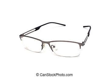 beau, lunettes soleil, gris, cadre, isolé, métallique, mince, blanc