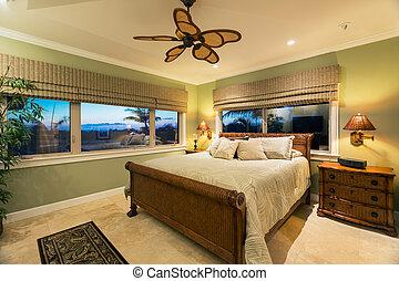 beau, luxe, chambre à coucher, intérieur, nouvelle maison