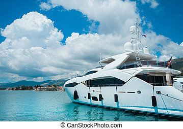 beau, luxe, yachts., voyager, nautisme, voile, concept.