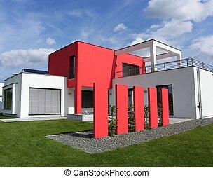 beau, luxhaus, -, bungalow, nouveau, blanc rouge, européen