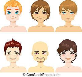 beau, mâle, faces