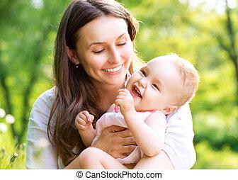 beau, mère bébé, outdoors., nature