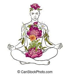 beau, méditation, femme, yoga