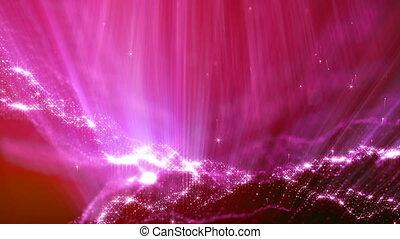 beau, métrage, vj, 1, rayons, seamless, particules, bokeh, animation, champ, résumé, rouges, 3d, loop., space., effects., lueur, lumière, microcosme, profondeur, ou, boucle
