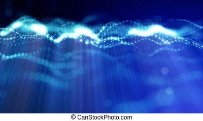 beau, métrage, vj, bleu, particules, rayons, seamless, 1, bokeh, animation, champ, résumé, 3d, loop., instruments à cordes, space., effects., lueur, lumière, microcosme, profondeur, ou, boucle