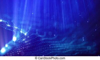 beau, métrage, vj, bleu, rayons, seamless, particules, bokeh, animation, 5, champ, résumé, 3d, loop., instruments à cordes, space., effects., lueur, lumière, microcosme, profondeur, ou, boucle