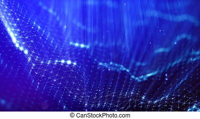 beau, métrage, vj, bleu, rayons, seamless, particules, bokeh, animation, champ, résumé, 3d, loop., particules, space., effects., 2, lueur, lumière, microcosme, profondeur, ou, boucle