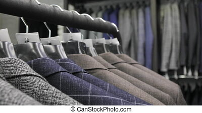 beau, magasin, rang, hommes, collection, hangers., vestes, ...