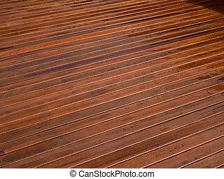 beau, mahogny, bois dur, pont, plancher