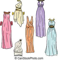 beau, main, grec, vecteur, dessiné, robes
