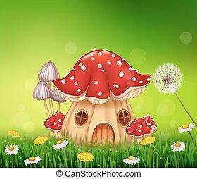 beau, maison, champignon, maison
