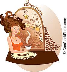 beau, maison, girl, café