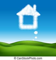 beau, maison, résumé, vecteur, paysage