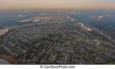 beau, maisons, appartement, usa, résidentiel, eau, river., secteur, nouveau