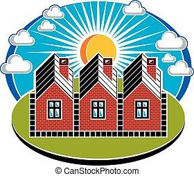 beau, maisons, bricks., image., paysage., simple, pays, ensoleillé, illustration, thème, maisons, clair, vecteur, été, village, conceptuel, constructed