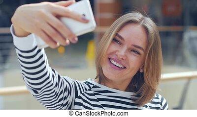 beau, mall., selfie, femme, confection