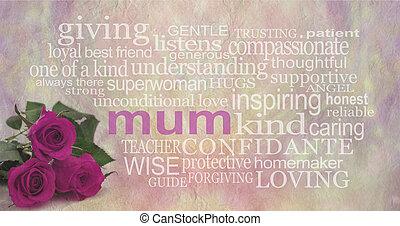 beau, maman, chaque, mots
