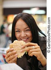 beau, manger, dof., peu profond, rire., hamburger, girl