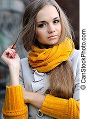 beau, manteau, automne, girl, portrait