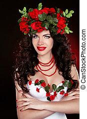 beau, maquillage, coiffure, couronne, head., portrait, professionnel, girl, fleurs
