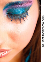 beau, maquillage, photo, sélectionné, foyer, closeup, girl