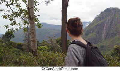 beau, marche, concept, femme, paysage, touriste, lifestyle., sac à dos, jeune, exotique, arrière-plan., aller, montagnes, femme, road., nature, piste, actif, long, sain, monter, randonneur, voyage
