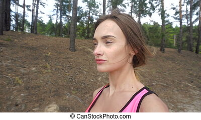 beau, marche, forêt, girl