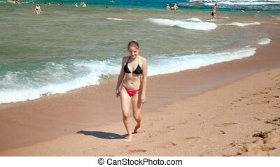 beau, marche, lent, jeune, mouvement, bikini, femme, vidéo,...