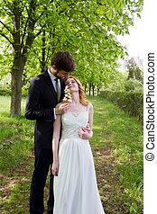 beau, marche, mariée, couple, palefrenier, parc, sentiments, la plupart, projection