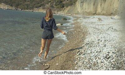beau, marche, plage, girl