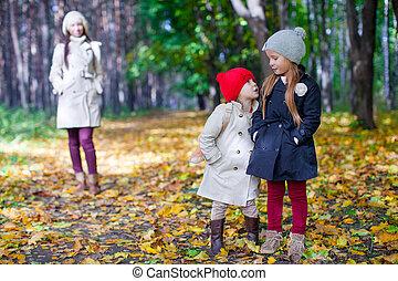 beau, marche, sien, fille, ensoleillé, parc, deux, jeune, automne, maman, adorable, jour