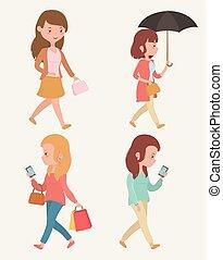 beau, marche, smartphones, groupe, utilisation, femmes