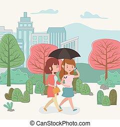 beau, marche, smartphones, parc, utilisation, femmes