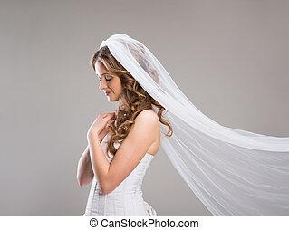 beau, mariée, à, voile