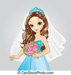 beau, mariée, brunette, princesse