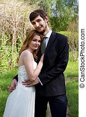 beau, mariée, couple, palefrenier