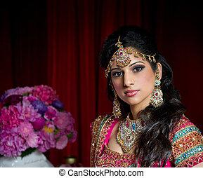 beau, mariée, indien