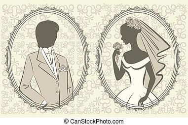 beau, mariée, palefrenier
