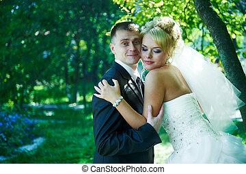 beau, mariée, palefrenier, portrait