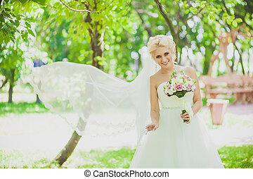 beau, mariée, parc, nature