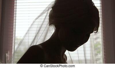 beau, mariée, silhouette