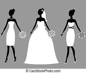 beau, mariées, silhouettes, jeune