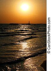 beau, marine, coucher soleil