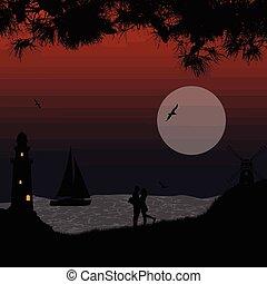 beau, marine, couple, plage, romantique