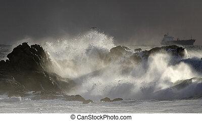 beau, marine, orage, lumière